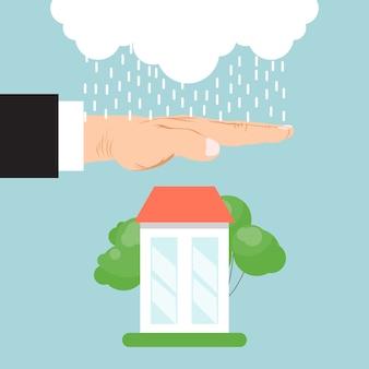 Casa di assicurazione di proprietà. assicurazione immobiliare, assistenza domiciliare, servizio di protezione della proprietà. mano dell'assicuratore che protegge casa dalla pioggia.