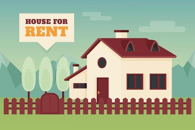 Casa di campagna con concetto di vendita e affitto di recinzione
