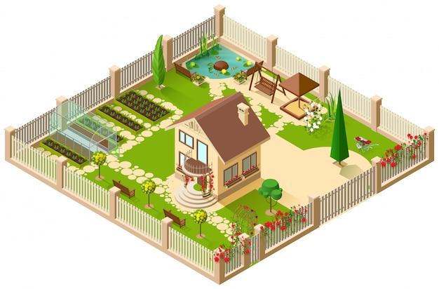 Casa di campagna e giardino privati. illustrazione isometrica 3d