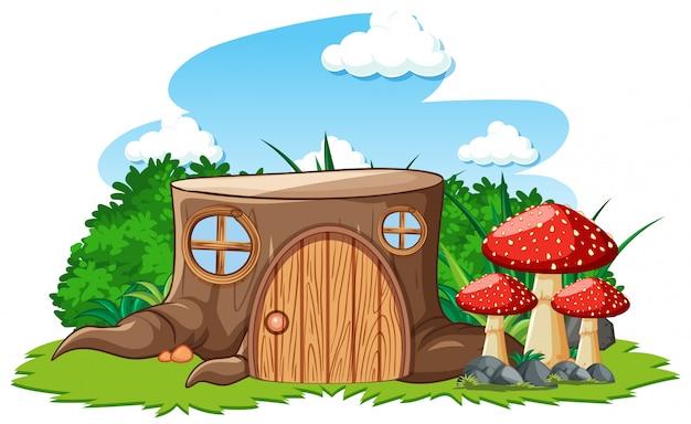 Casa di ceppo con funghi in stile cartone animato su sfondo bianco