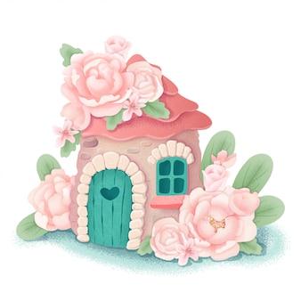 Casa di fata simpatico cartone animato con fiori di peonia