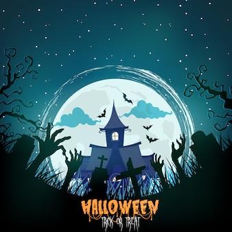 Casa di halloween con foresta spettrale di notte