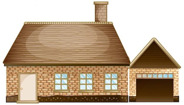 Casa di mattoni con garage