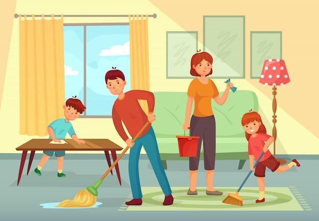 Casa di pulizia della famiglia. padre, madre e bambini che puliscono insieme l'illustrazione del fumetto di lavori domestici del salone
