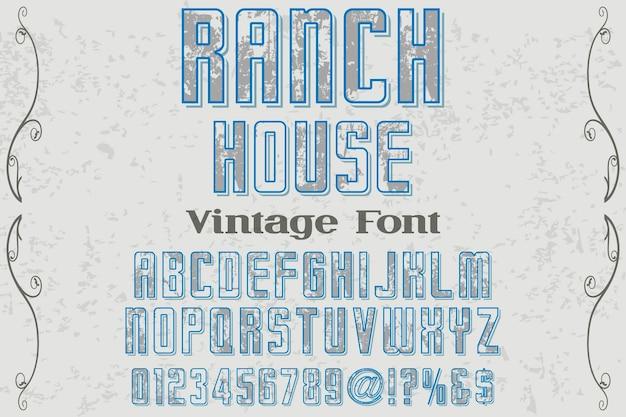 Casa di ranch di design di etichetta retrò lettering
