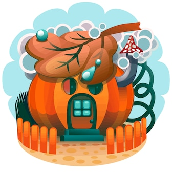 Casa di zucca disegnata a mano