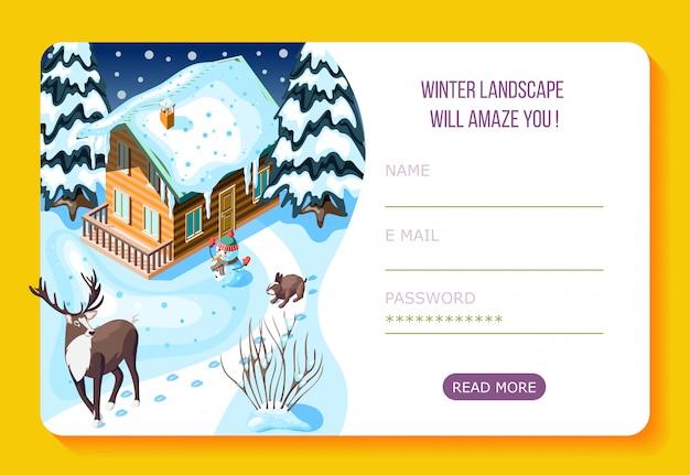 Casa e alberi di legno d'abbellimento di inverno nella pagina di atterraggio isometrica di web della neve con l'account utente
