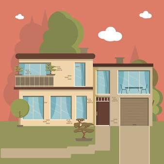 Casa e appartamento sullo sfondo della natura