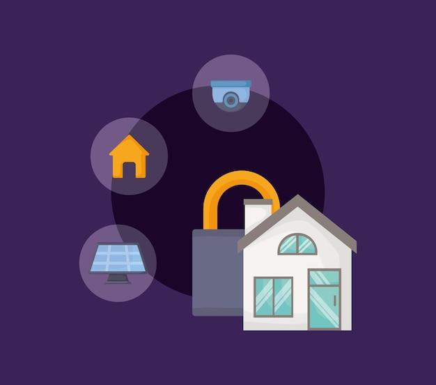 Casa e lucchetto con icone relative casa intelligente