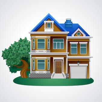 Casa familiare con albero. illustrazione.