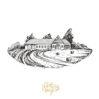Casa fattoria disegnata a mano illustrazione.
