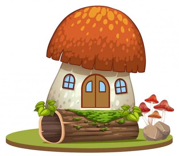 Casa fungo incantata su sfondo bianco