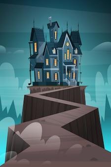 Casa gotica del castello alla luce della luna spaventosa, concetto di festa di halloween