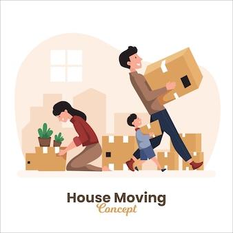 Casa in movimento concetto