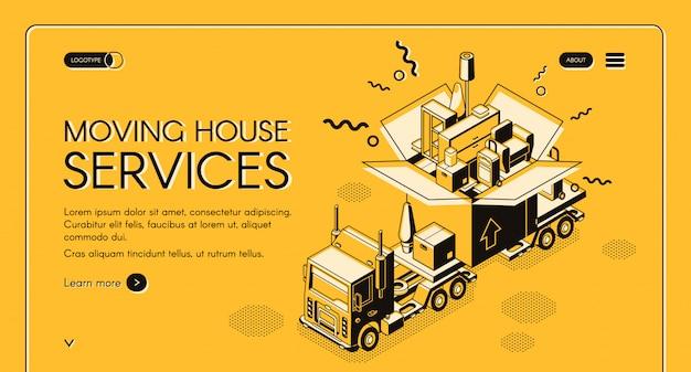 Casa in movimento e il servizio di trasferimento bandiera isometrica web
