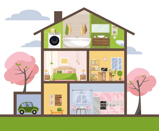 Casa in taglio. interni dettagliati set di camere con mobili.