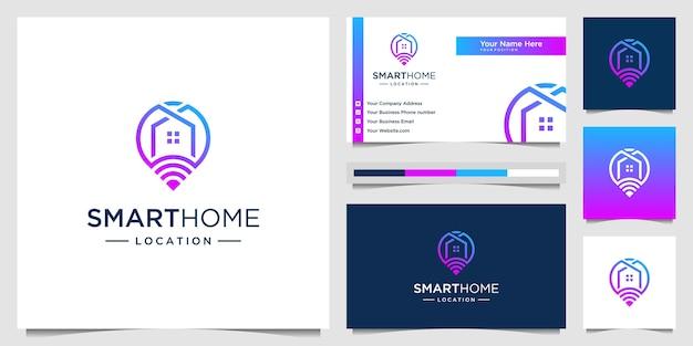 Casa intelligente con combinazione di mappa e logo di connessione e biglietto da visita. tecnologia del logo modello creativo.