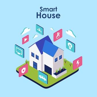 Casa intelligente. concetto di sistema tecnologico domestico con controllo centralizzato wireless
