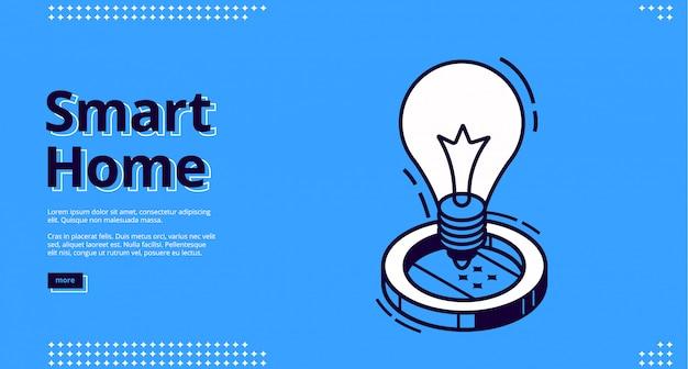 Casa intelligente isometrica con lampadina iot