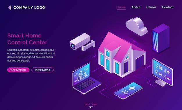 Casa intelligente isometrica, concetto di internet delle cose
