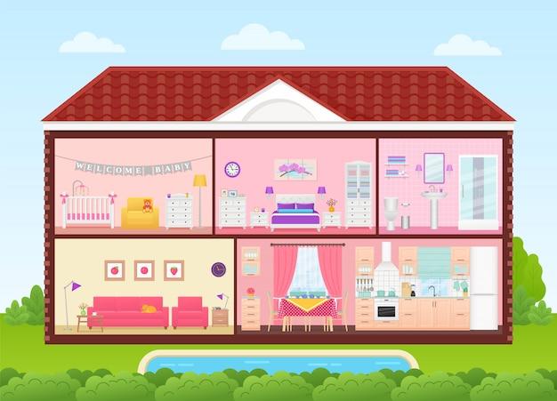 Casa interna con interni di camere. illustrazione in design piatto.