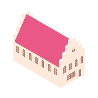 Casa isometrica con timpano a gradoni. isolato