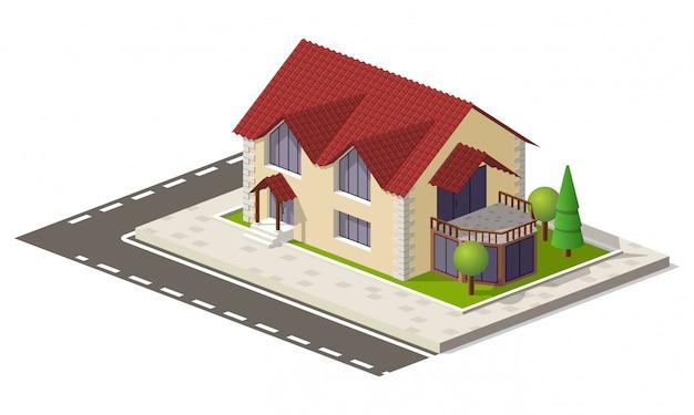 Casa isometrica del bene immobile su terra verde