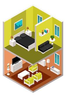 Casa isometrica in una sezione