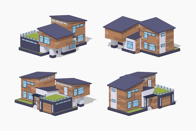 Casa isometrica lowpoly 3d contemporanea