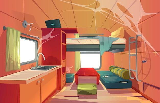 Casa mobile di campeggio abbandonata dell'interno dell'automobile del rimorchio