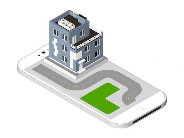 Casa moderna con una strada in piedi sullo schermo dello smartphone. abitazione urbana costruire con finestre e aria condizionata. illustrazione vettoriale isolato