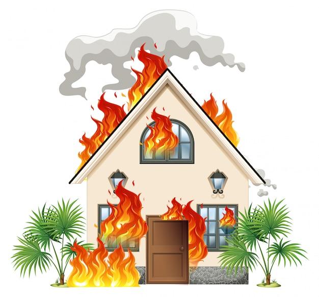 Casa moderna in fiamme