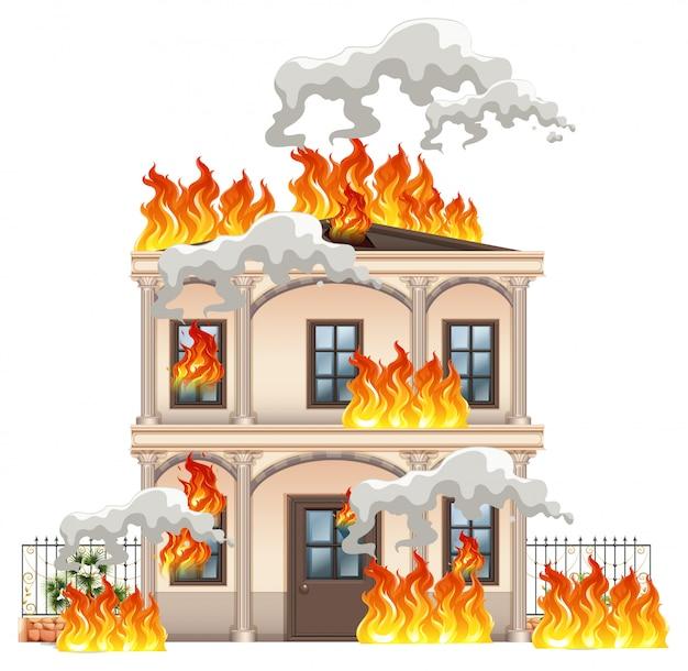 Casa moderna isolata in fiamme