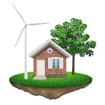 Casa mulino a vento e albero su un'isola volante