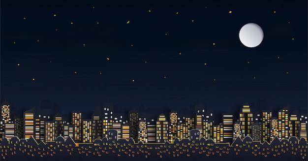 Casa o villaggio e paesaggio urbano con il gruppo di grattacieli nella notte.