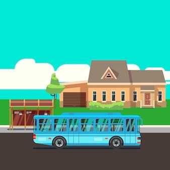 Casa residenziale con fermata dell'autobus e autobus blu. illustrazione vettoriale piatta. casa e autobus su strada, trasporti infrastrutturali