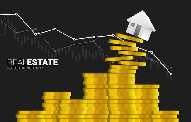 Casa rossa 3d che cade dalla pila di moneta dei soldi.