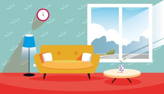Casa scena interna con divano e decorazione