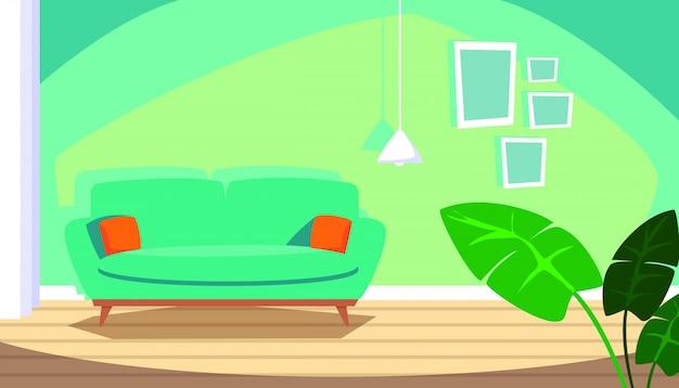 Casa scena interna con divano e interni di decorazione