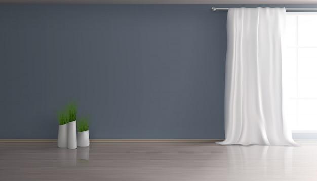 Casa soggiorno, sala da pranzo interno vuoto 3d realistica sfondo con tenda bianca sulla grande finestra, parete blu, parquet o pavimento in laminato, gruppo di vasi da fiori con illustrazione di piante verdi