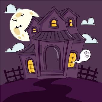 Casa spaventosa di halloween disegnata a mano