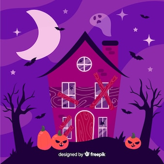 Casa stregata di halloween disegnata a mano