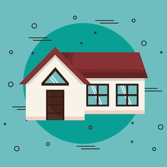 Casa su sfondo verde acqua. illustrazione vettoriale icona