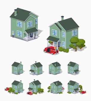 Casa suburbana isometrica lowpoly 3d