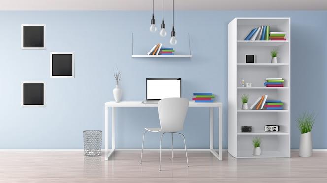 Casa sul posto di lavoro, ufficio moderno camera soleggiata, interni in stile minimalista in colori pastello vettore realistico con mobili bianchi, computer portatile sulla scrivania, rack e scaffali