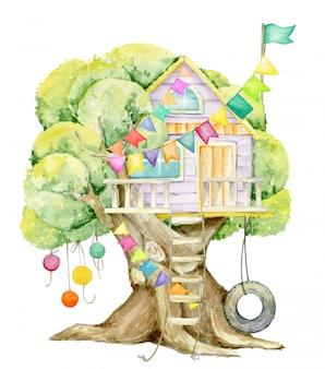 Casa sull'albero, bandiere, ghirlande. acquerello