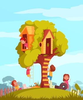 Casa sull'albero con i bambini allegri durante l'illustrazione dei giochi