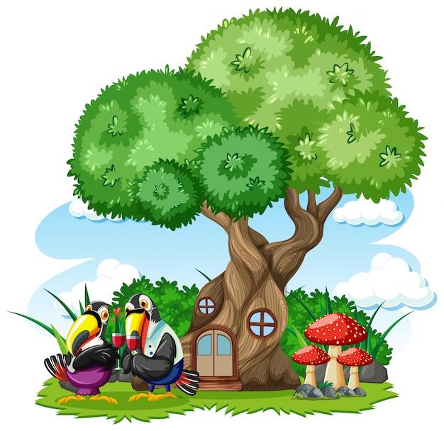 Casa sull'albero con tre uccelli in stile cartone animato