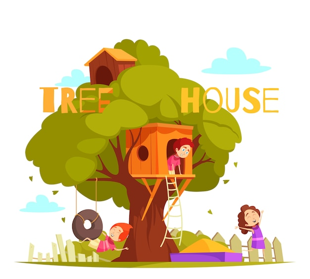 Casa sull'albero fra l'illustrazione verde del fogliame