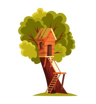 Casa sull'albero. parco giochi per bambini con altalena e scala. illustrazione vettoriale di stile piano